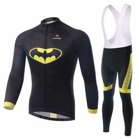 XINTOWN 2017 New Batman Cycling Uniform Black Long Sleeve Race Bike Clothing Sets Men Bib Pants