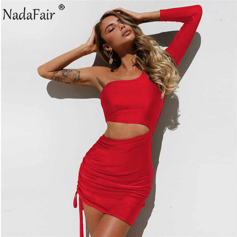 Nadafair one shoulder solid sexy bodycon autumn dresses women wrap ruched  lace up mini winter dress 3092bd864fad