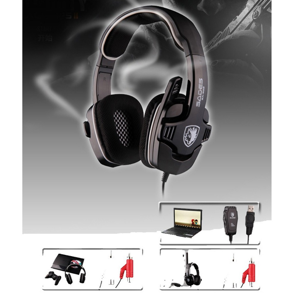 ФОТО New 3 in 1 SADES SA-922 7.1 Stereo Gaming Headset Headphone For PC/PS3/XBOX W/ Mic NEW