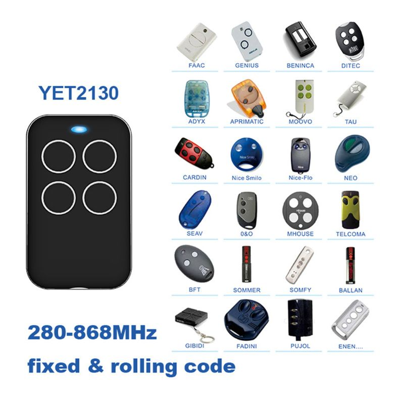 <font><b>Remote</b></font> Control <font><b>Universal</b></font> Multi Frequency Duplicate 280mhz to 868mhz 4 Channel Command Handzender Garage Door <font><b>Opener</b></font> <font><b>Gate</b></font> Key Fob image