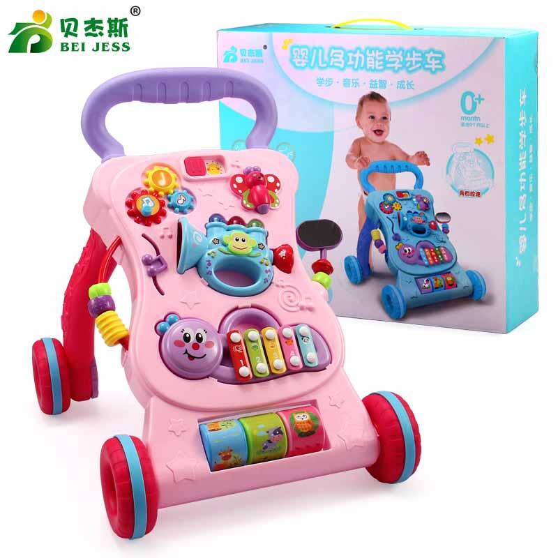 Le bébé multifonctionnel d'intérieur de BEI JESS montent sur des chariots de voiture avec des jouets de conseil Musical apprennent aux nouveau-nés grandissant des chariots de marche