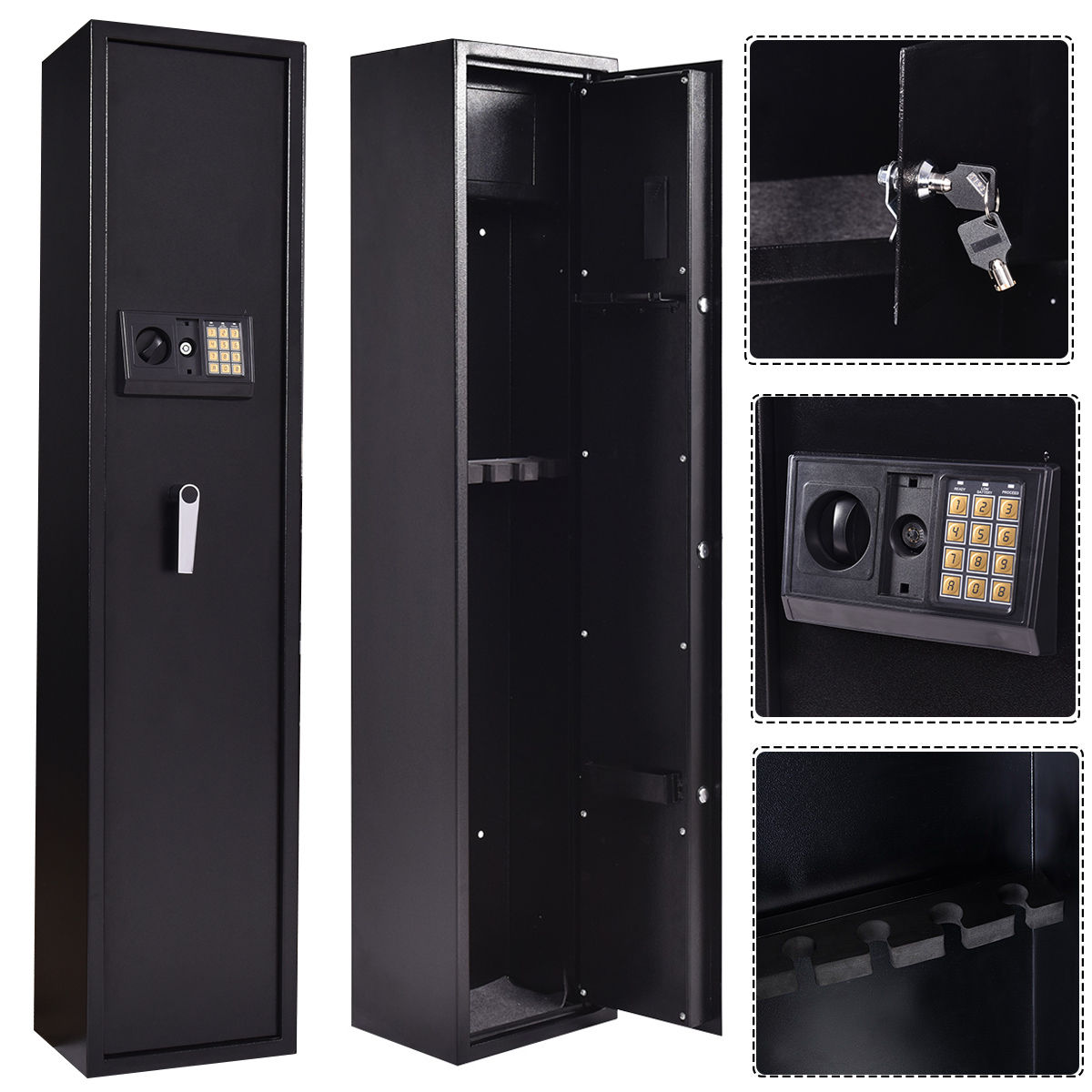 Giantex New 5 Rifle Electronic Lock Gun Storage Safe Cabinet Modern Steel Digital Security Safe Lockbox Gun Case Hw53780 Living Room Furniture Furniture
