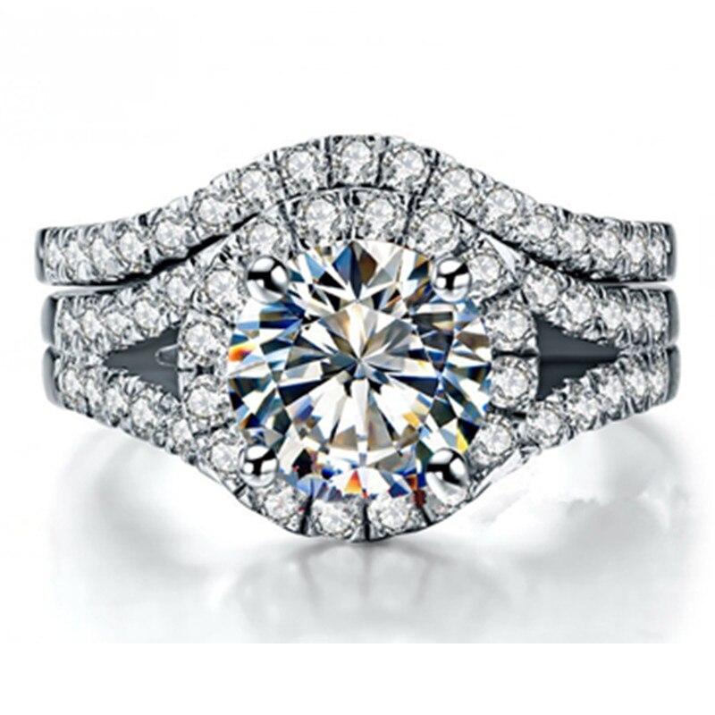 2ct 완벽한 일치 스털링 실버 약혼 반지 여성을위한 설정 화이트 골드 도금 sona mancreated 다이아몬드 반지 세트 마이크로 포장-에서반지부터 쥬얼리 및 액세서리 의  그룹 1