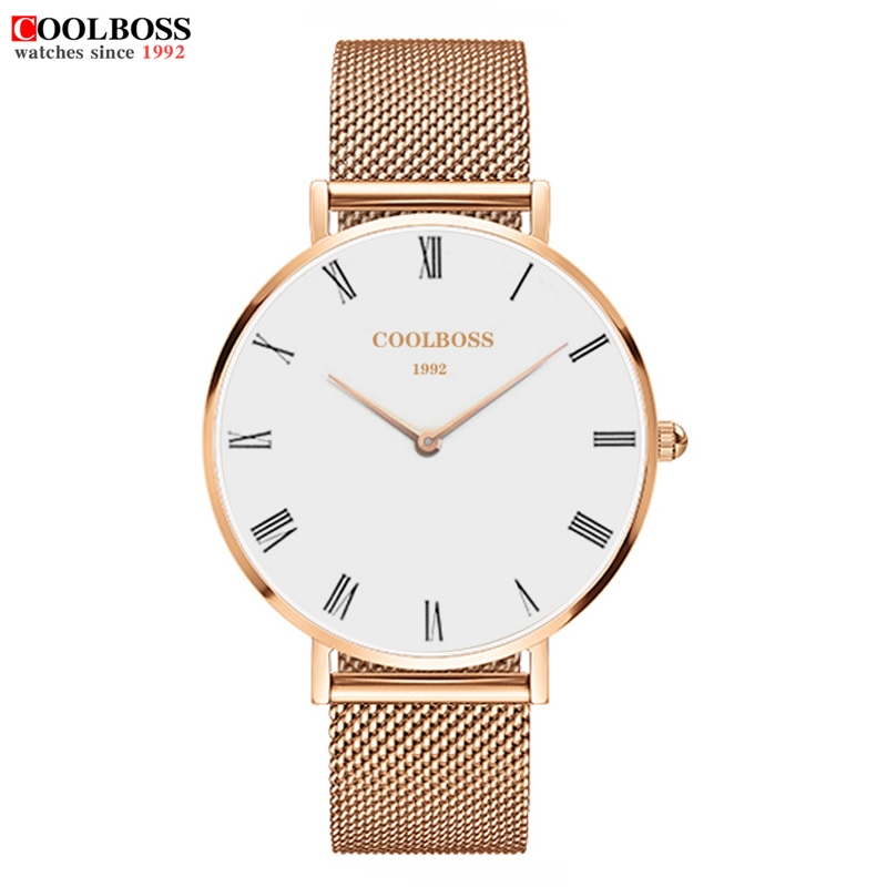 2017 New Famous Brand Rose gold Casual Quartz Watch Women Watches Metal Mesh Stainless Steel Dress Relogio Feminino Clock 2016 new famous brand silver watch women casual quartz clock women metal mesh stainless steel dress watches relogio feminino
