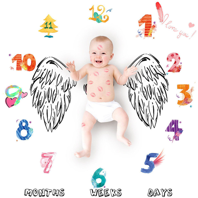 Newborn Cartoon Baby Blanket Number Wing Blanket Milestone Photography Photo Prop Shoot Blanket Swaddling