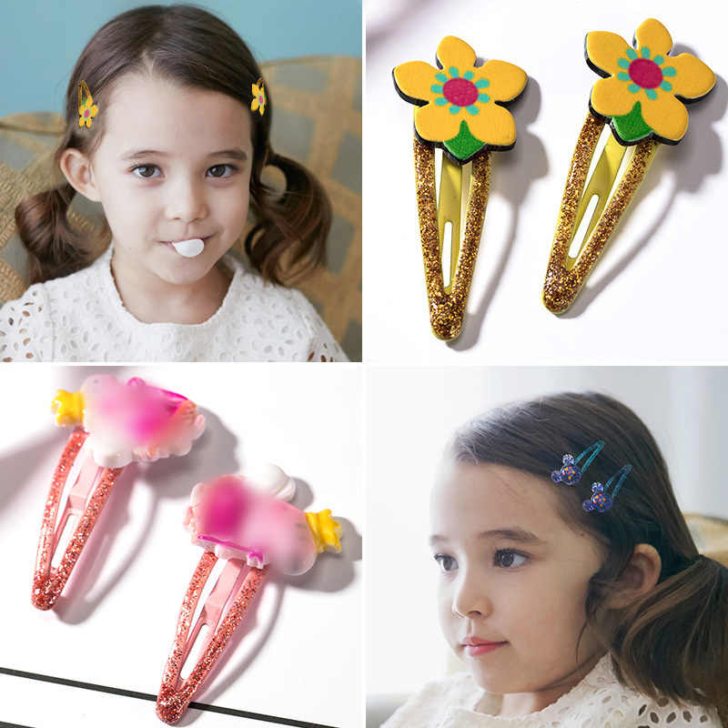 1 זוג לערבב צבע סגנונות פרח Cartoon מגוון יפה ילדים בנות אישה סיכת ראש קליפים בנות שיער אביזרי תכשיטים