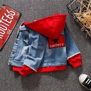 Image 1 - Kot Ceket Kız Çocuklar 2019 Bahar Erkek Hoodies Ceket Denim Uzun Kollu Giyim Çocuk Rüzgarlık 1th 2 3 4 5 7 yıl