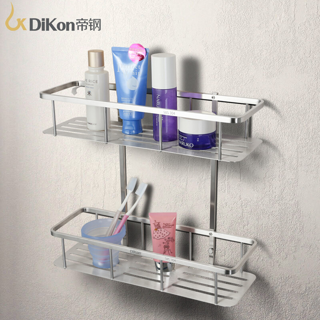 Dikon Gl11 Bathroom Shelf Basket 304 Stainless Steel Accessories Dual Tier Rectangle Brushed Surface