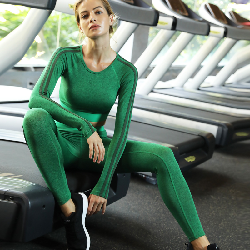 AINDAV Sport Solid Women Yoga Set Running Long Sleeve Tops Leggings Vintage Sports Clothing Gym Tracksuit