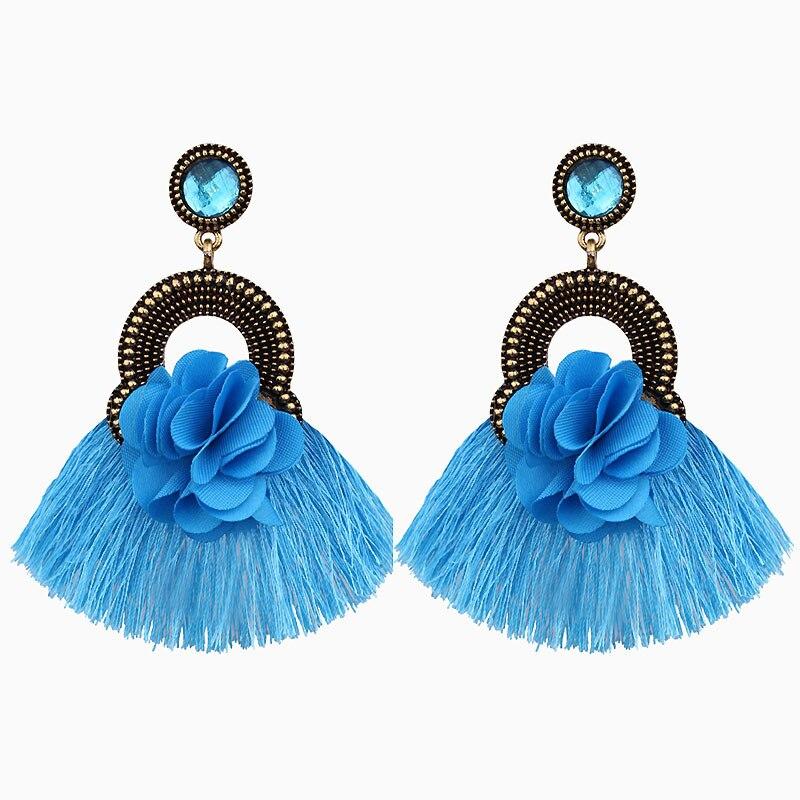 Trend products 2019 Women's Earrings pendants fringe fabric flower long tassel earrings woman accessories female jewelry