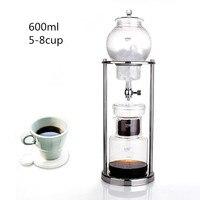 600 ML grande capacidade de aço inoxidável quadro vidro ice drip pot / de alta qualidade gotejamento cafeteira gelo gotejamento filtros de café ferramenta
