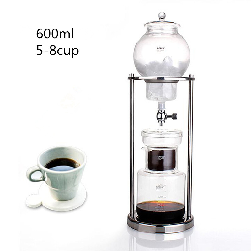 600ML large capacity stainless steel frame glass ice drip pot high quality drip coffee maker ice