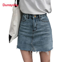 58ebecf966ee8d Duanyskiy Vrouwen Zomer Blauw Solid Casual Hoge Taille Potlood Denim Rokken  High Street Zakken Knop Alle-matched Jeans rok