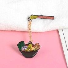 Mignon japonais nouilles émail broche Ramen oeuf soupe bol baguettes émail broches épinglettes insignes dessin animé épingles avec chaîne