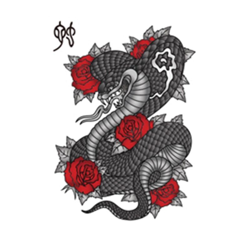 rose snake of chinese zodiac waterproof temporary tattoos black viper cool body art designs fake. Black Bedroom Furniture Sets. Home Design Ideas