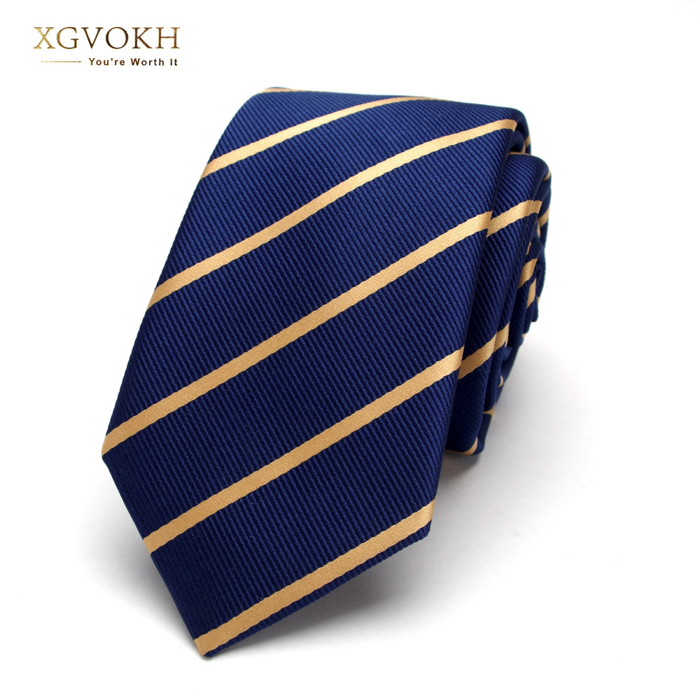 Mens Blue Striped Ties For Men 6cm Polyester Silk Neckties Casual Tie Business Neckwear Corbatas Wedding Tie