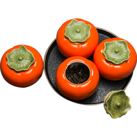 SIBAOLU 1Pc 250ml Ceramic Persimmon Shape Tea Can Sealed Can Flower Tea Storage Tank Small Cork Creative Tea Pet