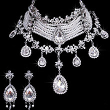 MHS słońce 1 zestaw luksusowa moda kryształ zestaw biżuterii ślubnej Rhinestone Pearl naszyjnik dla nowożeńców i zestaw kolczyków kobiet Wedding Party biżuteria tanie tanio Zestawy biżuterii bridal necklace earrings Zestawy biżuterii dla nowożeńców Okrągły MHS SUN TRENDY Ślub Ze stopu cynku
