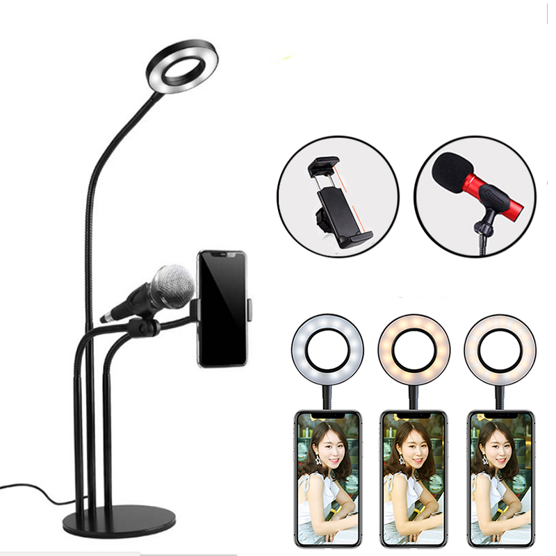 LED Selfie Ring Light Video Live Studio Photography Photo Fill Ring Light Dimmable Makeup Lamp With Phone Holder Microphone Clip