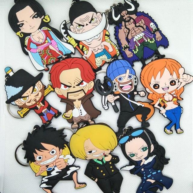 One Piece luffy Chaveiro Dupla Face Chaveiro Pingente Acessórios Anel Chave Dos Desenhos Animados do Anime Brinquedos de borracha macia DO PVC