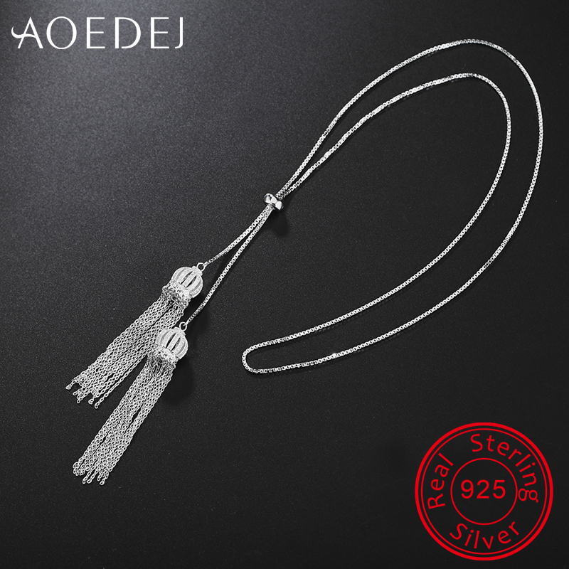 AOEDEJ Tassel Crystal Necklace Pendant 925 Sterling Silver Chain Cubic Zirconia Chocker Fashion Necklaces Women Girls Jewelry