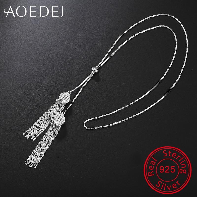 AOEDEJ Tassel Crystal Necklace Pendant 925 Sterling Silver Chain Cubic Zirconia Chocker Fashion Necklaces Women Girls Jewelry