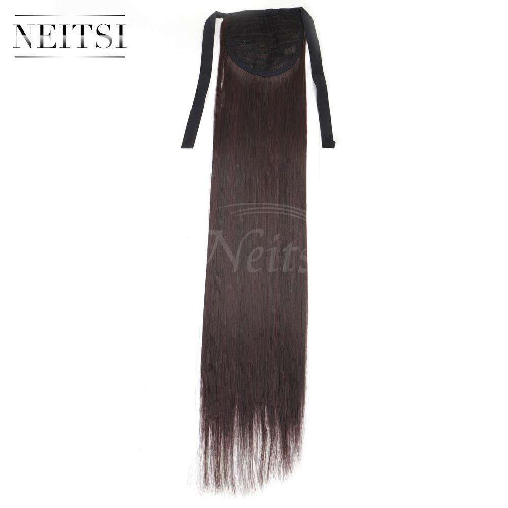 Neitsi Straight Long Clip In Hair Tail False Hair Ponytail Hairpiece With Hairpins Synthetic Hair M2 33 in Braid Maintenance from Beauty Health