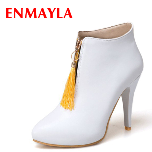 8029447e1d0f ENMAYLA Autumn Womens Zipper Tassel Ankle Boots High Heels Shoes Woman Boots  Black Yellow White Ladies Wedding Shoes
