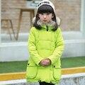 2-10Y дети девушка зимняя куртка долго дизайн девушки верхняя одежда пальто с капюшоном большой меховой воротник вниз и парки сгущает теплая вниз куртка