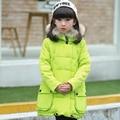 2-10Y crianças menina jaqueta de inverno projeto longo meninas outerwear casaco com capuz grande gola de pele down & parkas engrossar quente para baixo jaqueta