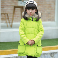 2 10Y kids girl winter jacket long design girls outerwear coat hooded large fur collar down