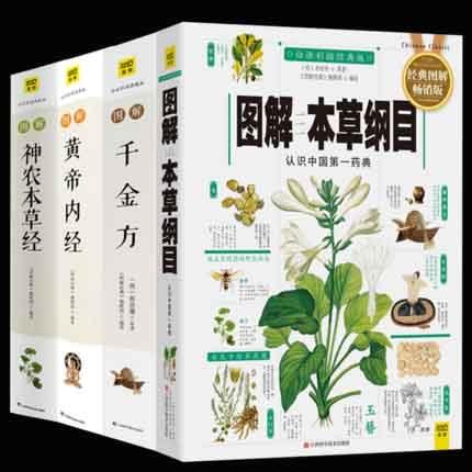4pc Ompendium Of Materia Medica + Inner Canon Of The Yellow Emperor + Sheng Nong's Herbal Classic + Thousand Golden Prescription