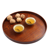 Tea Food Oriental Plate Dish Platter Natural Wood Serving Tray Eco Friendly 27CM Diameter Primitive Hand