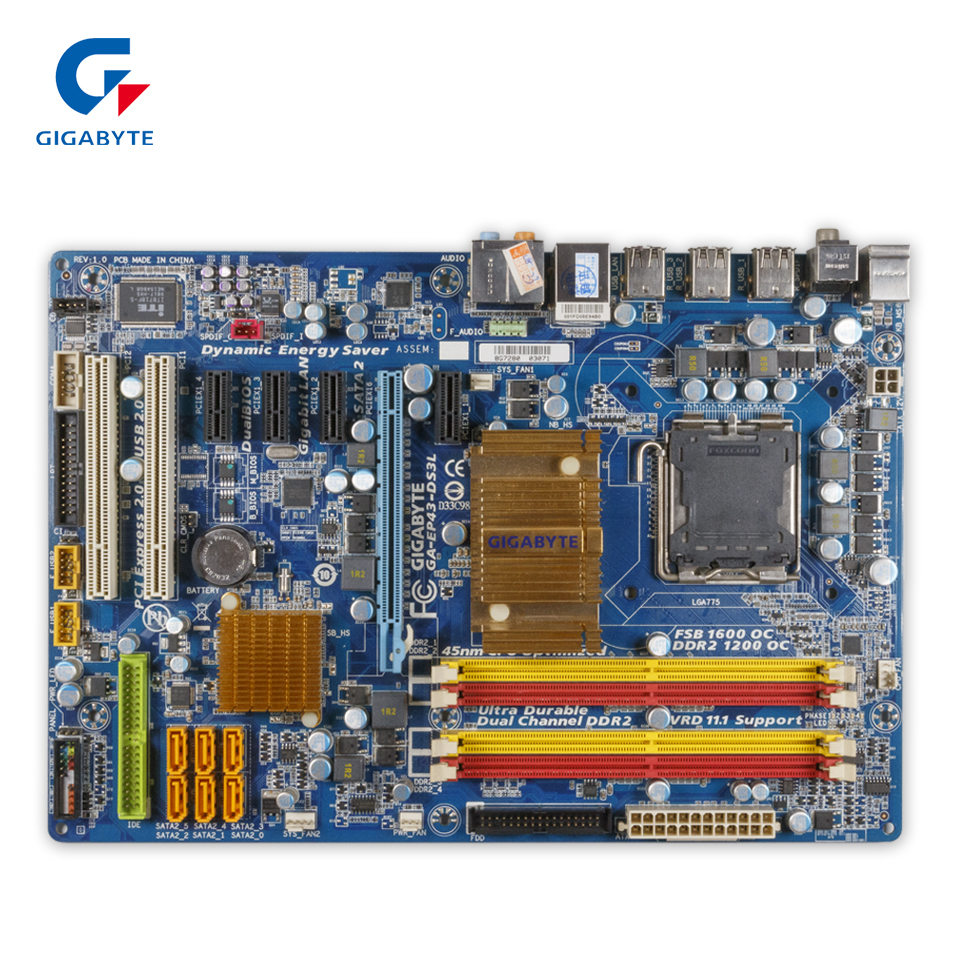Gigabyte GA-EP43-DS3L Desktop Motherboard EP43-DS3L P43 LGA 775 DDR2 16G SATA2 USB2.0 ATX gigabyt ga ep43 ds3l 100