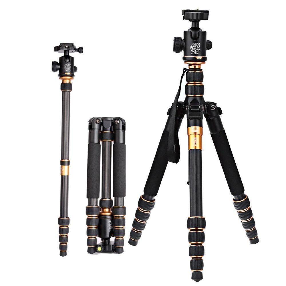 QZSD Q666C fibre de carbone caméra de voyage vidéo trépied Gorillapod monopode avec plaque de dégagement rapide pour appareil photo reflex numérique, appareil photo numérique