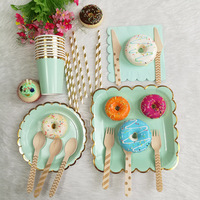 Aqua and Gold Foil Paper Plates cups napkins Dessert Dinner Plates, Birthday Decor Baby Bridal Shower Gold Wedding