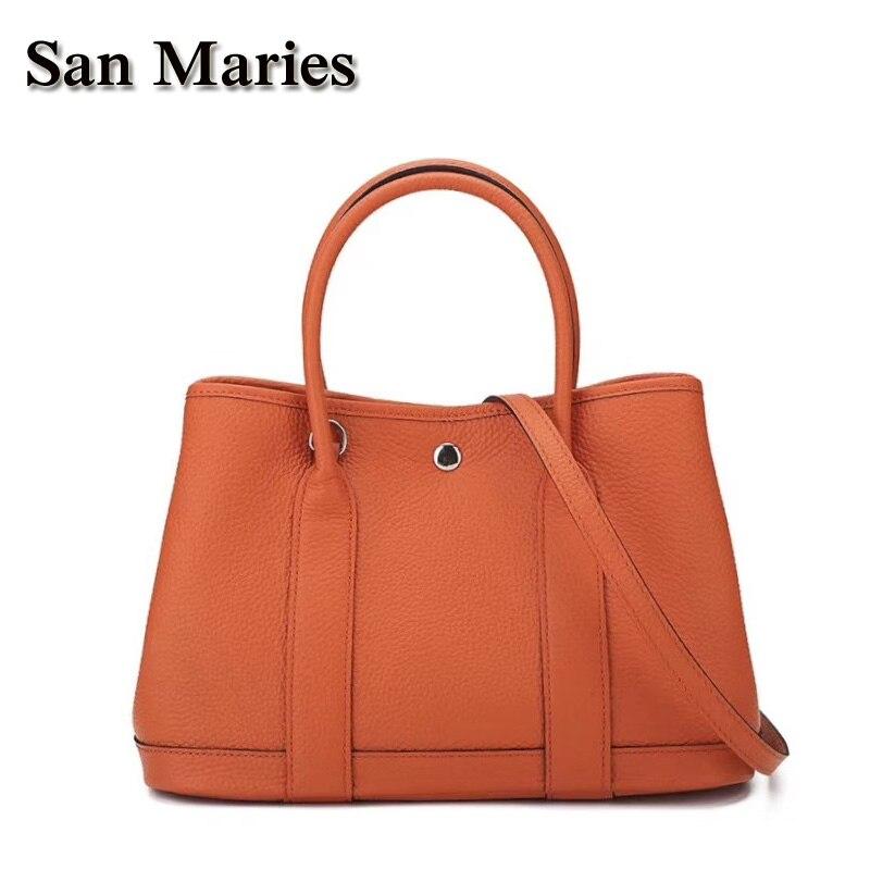 San Maries Designer กระเป๋าถือคุณภาพสูงผู้หญิงที่มีชื่อเสียงดาวสไตล์กระเป๋า Messenger กระเป๋าถือหรูใหม่ผ้าพันคอ 2 ขนาด Tote-ใน กระเป๋าหูหิ้วด้านบน จาก สัมภาระและกระเป๋า บน   1