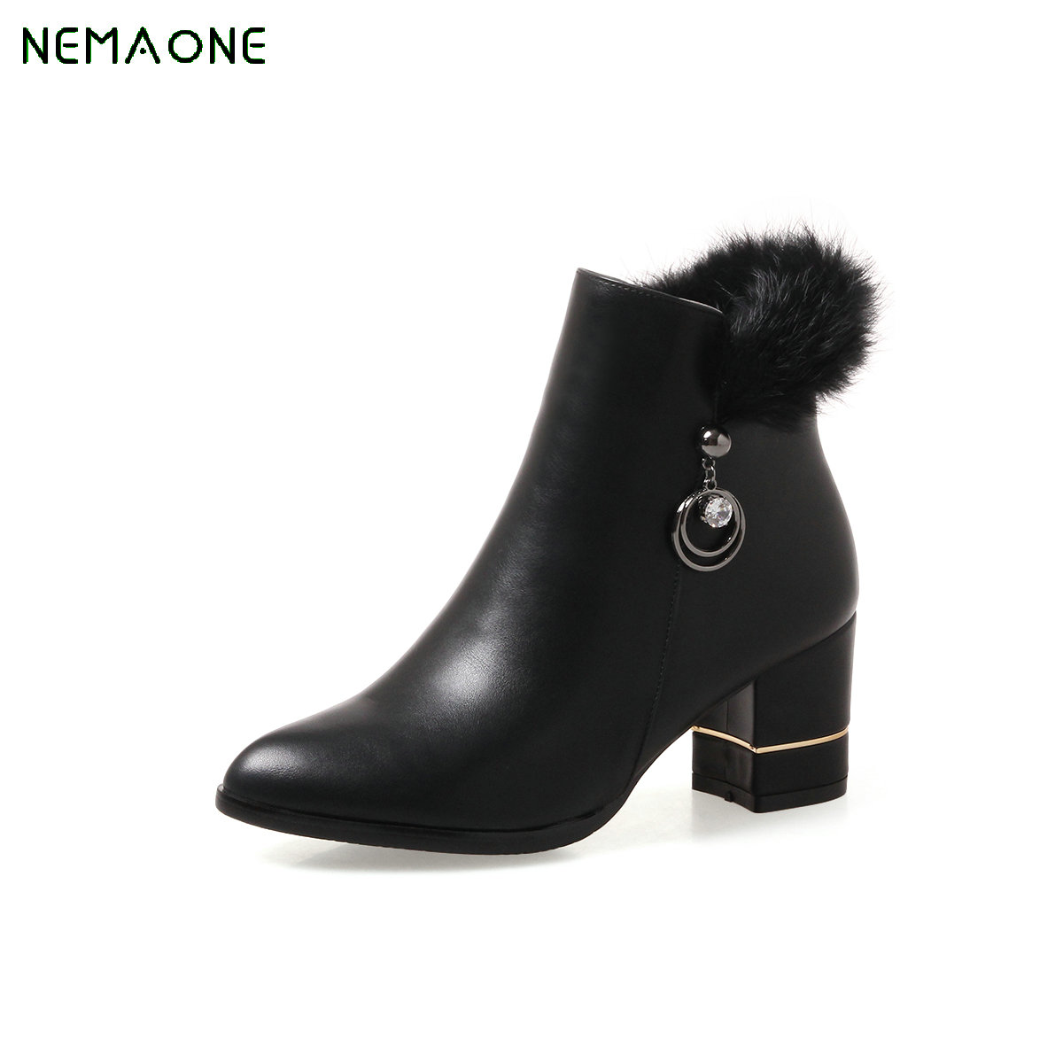 где купить NEMAONE Botas Women Footwear Pu Leather Round Toe Martin Boots Platform Shoes Female Autumn/winter High Heel Ankle Boots Zipper по лучшей цене
