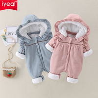IYEAL Baby Girl Rompers Winter Newborn Girls Christmas Jumpsuits Long Sleeves Infant Bebe Overalls Cotton Toddler One Piece Wear