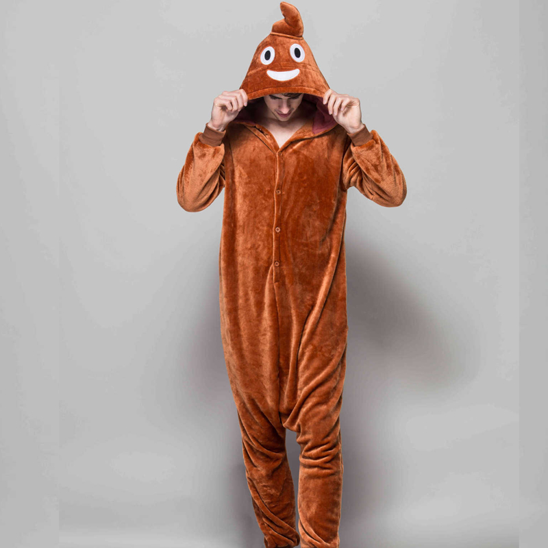 Amusing Brown Poop Kigurumi Soft Flannel One-Piece Pajamas For Warm Halloween Onesie For Adults Cosplay Party Costume Sleepwear (5)