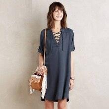 Женщины новинка летнее платье глубокий V шеи с коротким рукавом джинсы широкий платья женщины свободного покроя женские платья ZD1409