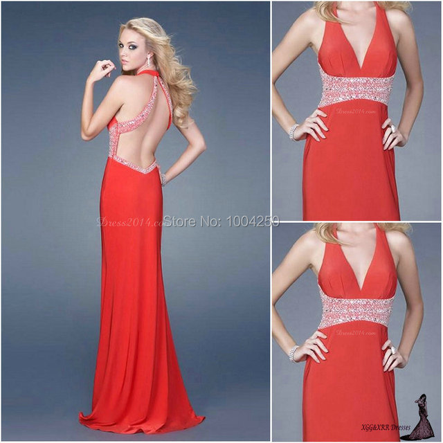 AP102 2016 New Arrival Real Sample Dress Chiffon Sexy Halter Beaded Split  Front Long Prom Dress Red Evening Dresses Party Dress 701c5ac5b448