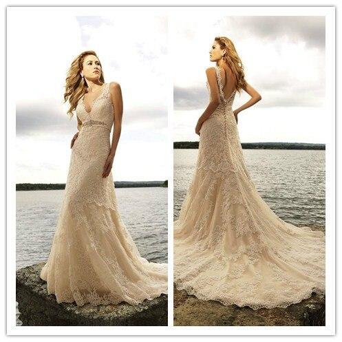 vintage beige lace wedding dress bridal gowns with sash vestido de