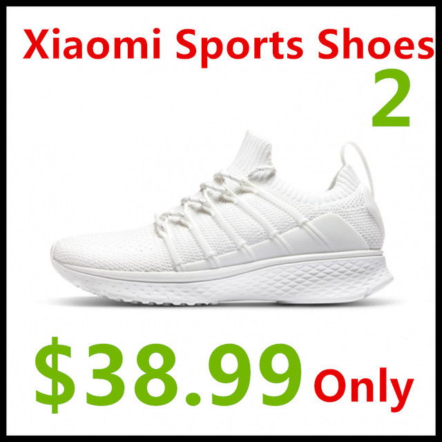 (In Stock) Xiaomi Mijia Sports Shoes Sneaker 2 Uni-Mould Techinique New Fishbone Lock System Elastic Knitting Vamp Smart Sports