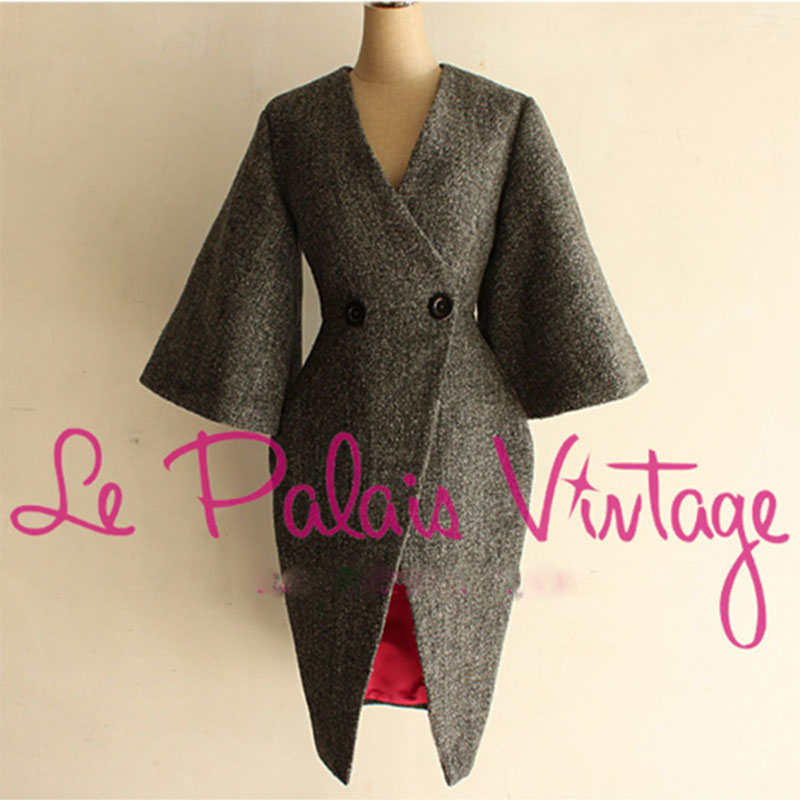 Le Palais Vintage Limited Edition Noble Elegant Grey Slim Waist Flare Sleeve Thickening Woolen Outerwear Women