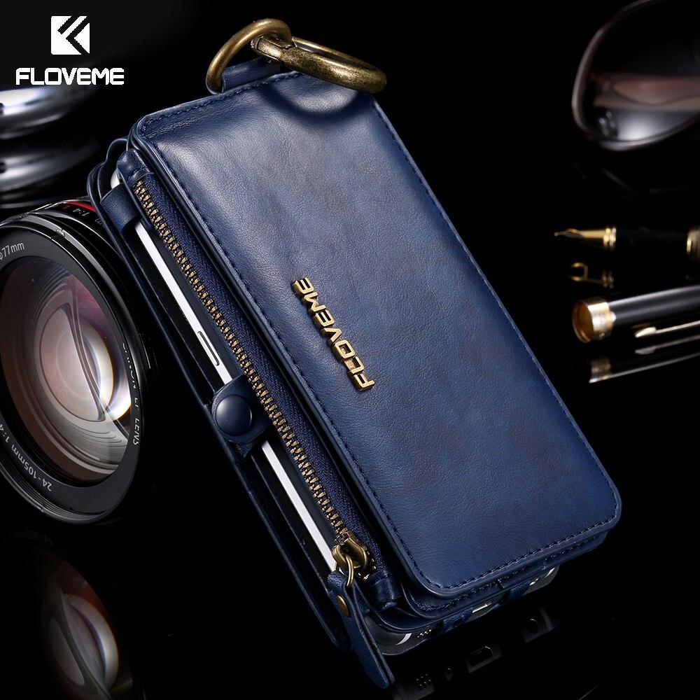 imágenes para FLOVEME Caso Para el iphone 6 6 S 7 Más la Caja de Lujo Original de la Marca Billetera Cubierta de La Bolsa de cuero Para Samsung Galaxy S6 S7 Borde Nota 3 4 5