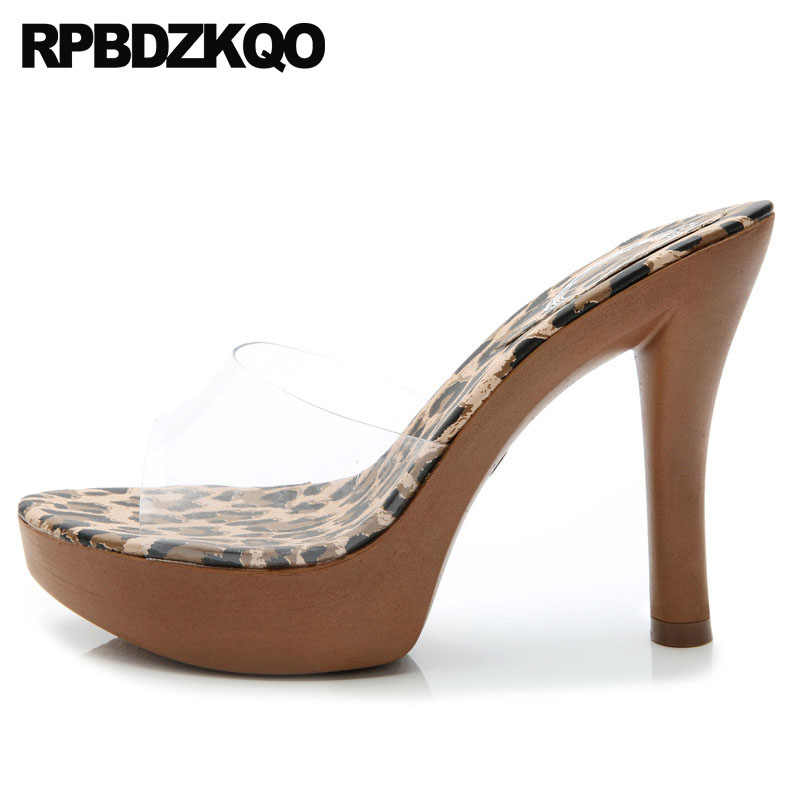 302887138c3 Exotic Dancer Sexy Platform Slides Fetish Sandals Leopard Print Stripper  Slippers Transparent Woman Shoes Luxury Brand