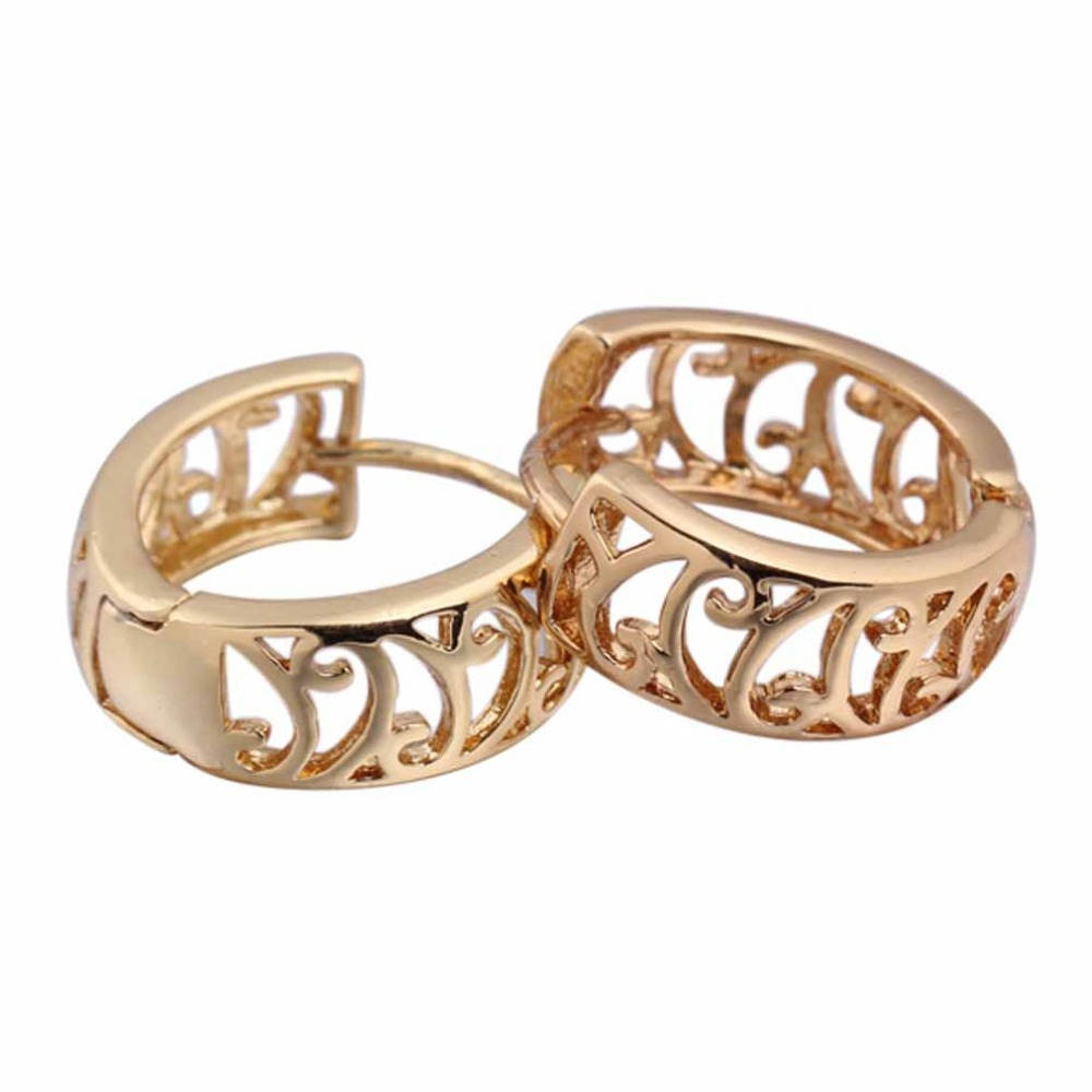 Brand New Gold Filled Earring CC Smooth Gold Color Simple Style ...
