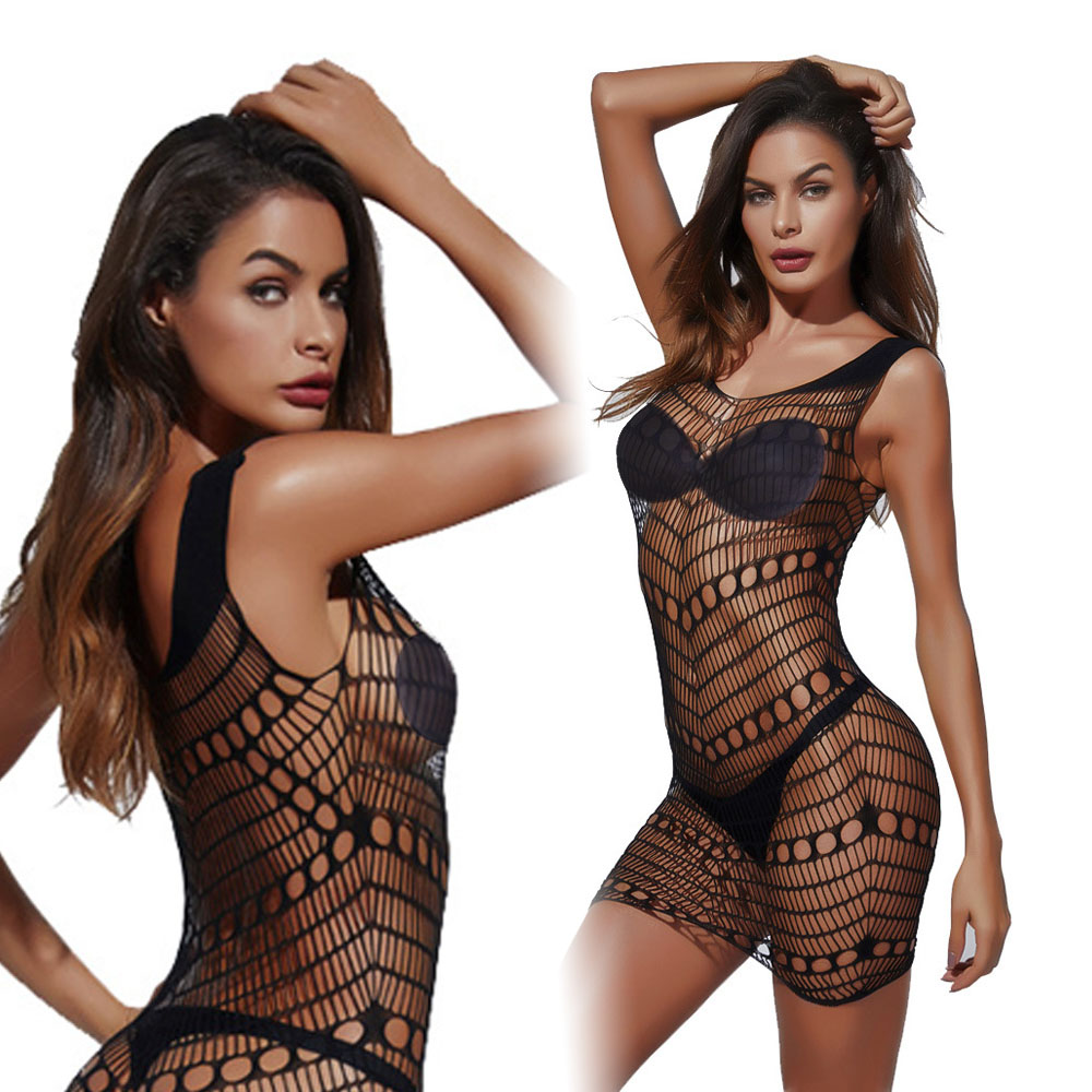 Fetish Sexy Mini Dress Fishnet Lingerie Erotic Underwear Night Lover Bodystockings Sex Game For Women Stretchy Mesh Tight Appeal