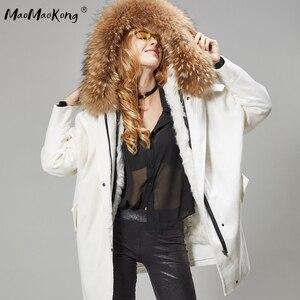 Image 3 - MaoMaoKong Long Corduroy winter faux fur lining jacket coat Women parka fur coat Corduroy real raccoon fur collar warm parkas